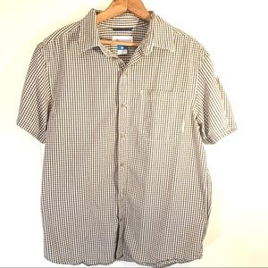 Columbia Men's Gingham Brown and White Button Down